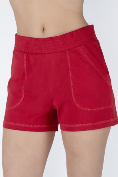 Женские красные хлопковые шорты с карманами OXOUNO 0733