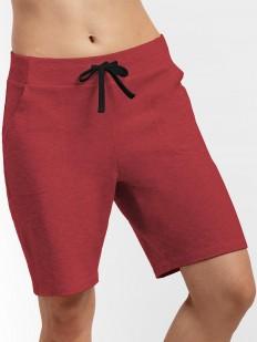 Женские удлиненные бордовые шорты из хлопка с карманами