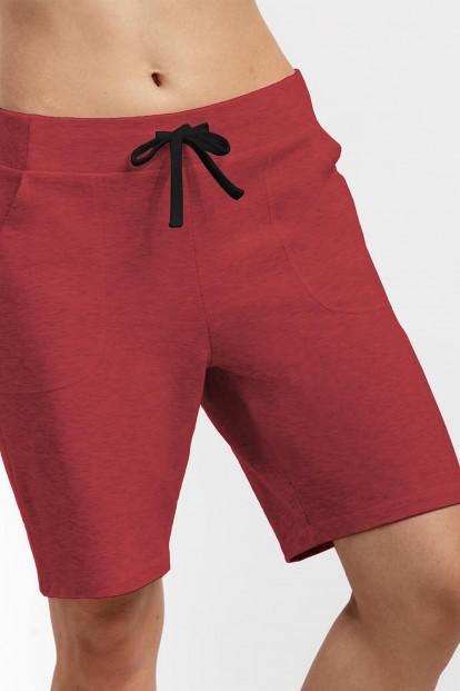 Женские удлиненные бордовые шорты из хлопка OXOUNO 1042 - фото 1