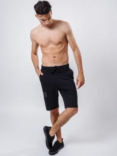 Хлопковые мужские домашние шорты бермуды черные