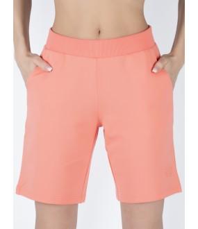 Женские удлиненные домашние шорты с боковыми карманами розовые