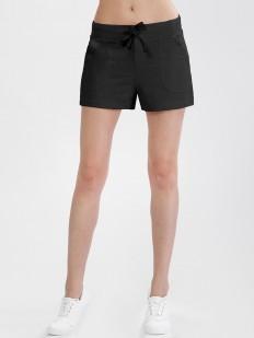 Короткие женские черные шорты из хлопка с карманами