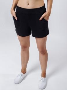 Короткие женские домашние шорты с карманами черные