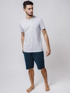 Синие мужские шорты бермуды из хлопка