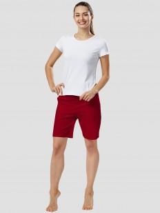 Удлиненные женские шорты для дома с карманами бордовые