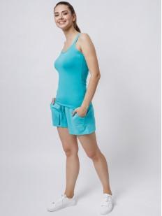 Короткие домашние женские шорты с завязками голубые