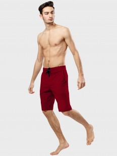 Хлопковые мужские домашние шорты бермуды бордовые