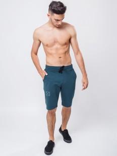 Хлопковые мужские домашние шорты бермуды синие