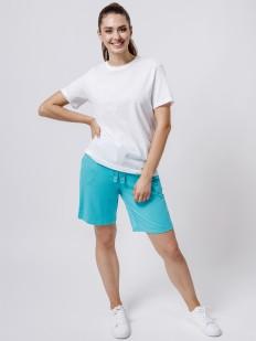 Домашние женские удлиненные шорты с карманами голубые
