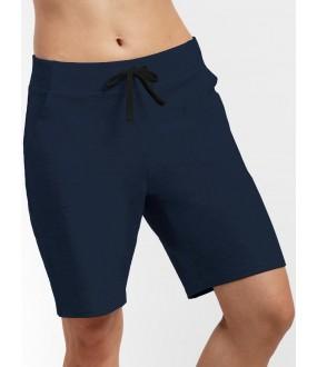 Женские удлиненные синие шорты из хлопка с карманами
