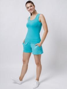 Короткие домашние женские шорты с карманами голубые