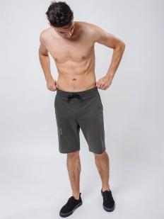 Хлопковые мужские домашние шорты бермуды цвета хаки