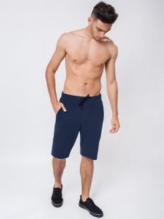 Мужские синие удлиненные шорты бермуды из хлопка