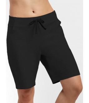 Черные удлиненные женские шорты из хлопка с карманами