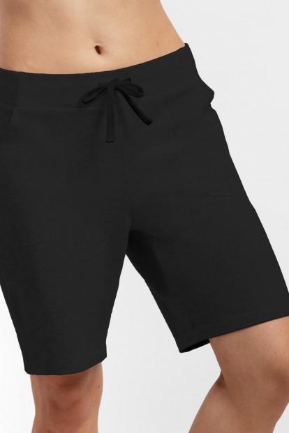 Женские удлиненные черные шорты из хлопка OXOUNO 1051 - фото 1