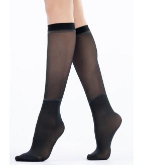 Женские черные капроновые гольфы с уплотненными носочками и люрексом