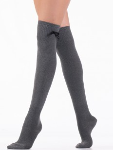 Плотные женские гольфины выше колена с атласным бантиком