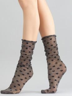 Высокие блестящие женские носки в мелкий горошек