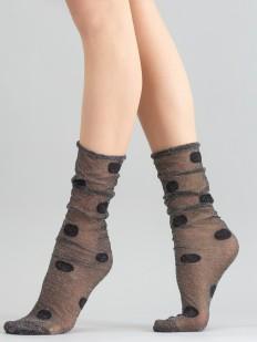 Высокие блестящие женские носки в крупный горошек