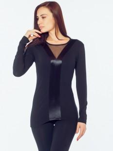 Приталенная блузка с атласными полосками и длинными рукавами