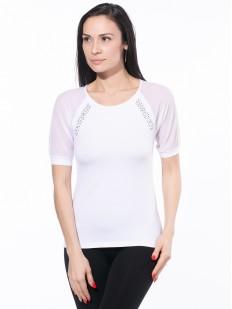 Белая блузка со стразами и короткими рукавами из микросеточки