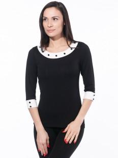 Приталенная блузка с контрастными вставками