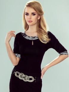 Элегантная черная блузка из вискозы с ажурными вставками