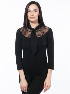 Черная блузка из вискозы с завязкой галстуком и кружевным декольте