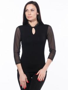 Черная блузка из вискозы с тюлевым рукавом и вырезом каплей