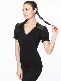 Черная блузка футболка с рукавами фонариками и треугольным вырезом