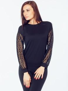 Свободная блузка с рукавами из микротюля в крупный горошек