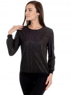 Черная блузка на выход с блестящими полосками и длинным рукавом