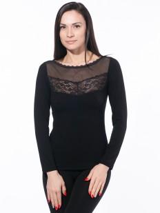 Черная блузка с тюлевой сеточкой и длинным рукавом
