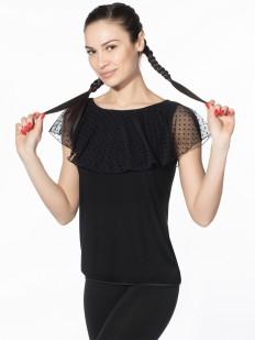 Черная блузка с тюлевой накидкой в горошек и коротким рукавом