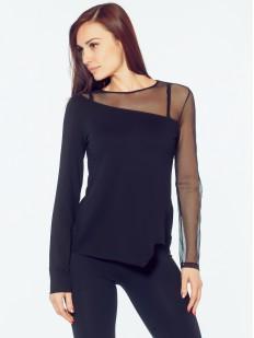 Блузка из вискозы с прозрачным тюлевым рукавом
