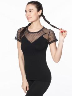 Блузка из вискозы с коротким тюлевым рукавом в горошек