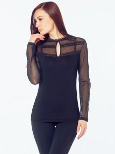 Элегантная приталенная блузка с прозрачными вставками
