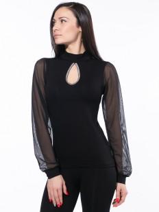 Черная блузка с вырезом каплей и длинным тюлевым рукавом
