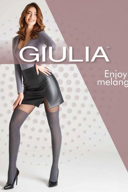 Матовые колготки с имитацией матовых меланжевых чулок Giulia ENJOY MELANGE 04 - фото 1