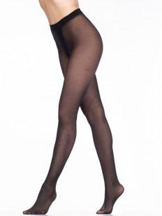 Черные женские колготки 40 ден в мелкий горошек