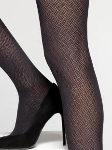 Матовые фантазийные колготки 50 ден с геометрическим плетением