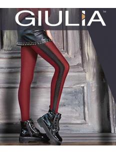 Бордовые женские колготки 150 ден с контрастной вертикальной полоской