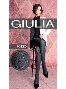 Вязаные хлопковые колготки Giulia TOKIO 03 серые