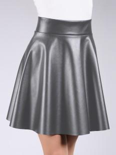 Женская кожаная мини юбка с карманами