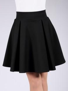Черная трикотажная мини юбка со складками