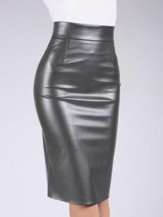 Женская кожаная юбка карандаш прямого кроя