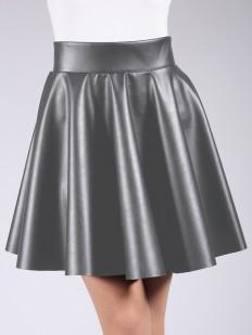 Женская кожаная юбка миди с карманами