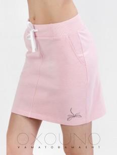 Хлопковая розовая мини юбка с карманами