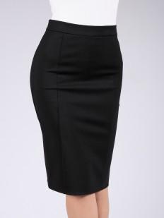 Черная юбка карандаш из вискозы прямого кроя