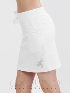 Женская хлопковая летняя юбка с карманами и рисунком пчелка